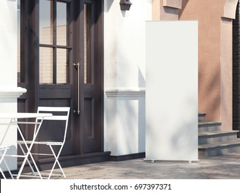 Street restaurant with blank rollup banner. 3d rendering
