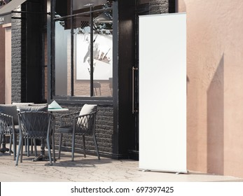 Street restaurant with white blank rollup banner. 3d rendering