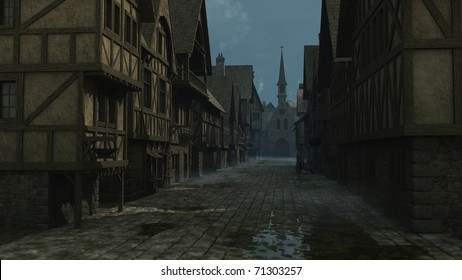 Street Scene set in a European town during the Middle Ages or Medieval period, 3d digitally rendered illustration