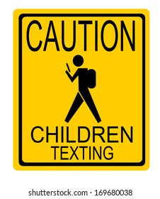 street sign caution children texting with child wearing backpack and using phone