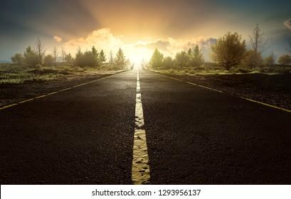 Street at sunset (3D Rendering)