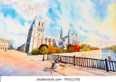 Street view, Notre Dame, famous in Paris France. Watercolor painting colorful illustration landscape beautiful season in sunny and sky background. modern business city. Landmark of the world.