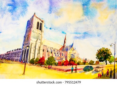 Street view, Notre Dame, famous in Paris France. Watercolor painting colorful illustration landscape beautiful season in sunny and sky background. modern business city travel. Landmark of the world.