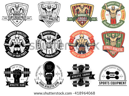 street workout logos athletic emblems fitness labels and badges