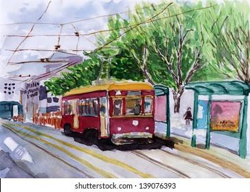 streetcar watercolor sketch on paper