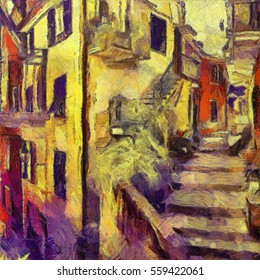 The Streets Of Italy. The plot is made impasto painting style of van Gogh. Oil on canvas in combination with pastels. Suitable for interior or gift.