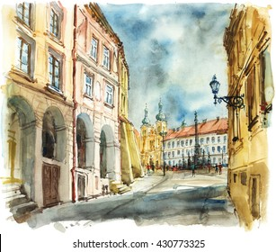 Streets to the square with a church, painted watercolor illustrations