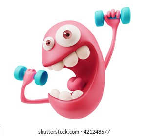 Strength Emoji Cartoon. Tired Training Emoticon Character. 3d Rendering.