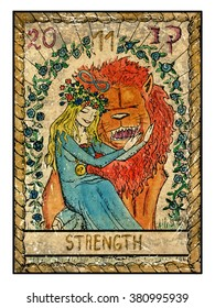 Strength.  Full colorful deck, major arcana. The old tarot card, vintage hand drawn engraved illustration with mystic symbols. Beautiful young girl stroking scary lion. Beauty and beast.