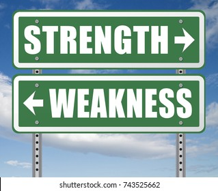 strength or weakness being strong or weak overcome problems accept the challenge to success 3D, illustration