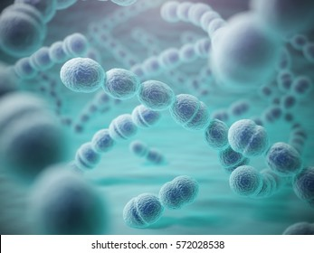 Streptococcus pneumoniae or pneumococcus bacterias. 3d illustration