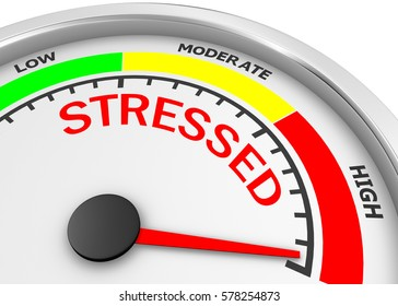 stress level conceptual meter indicating maximum 3d rendering
