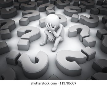 Stressed 3d man sitting amongst question marks on white background , Tough times concept