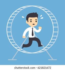 Stressed businessman running in hamster wheel. Rat race concept illustration.