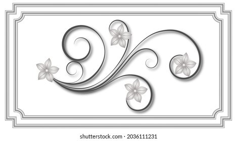 Stretch ceiling pattern. decorative ornament element. Horizontal swirl floral ornaments on a white background. 3d grey border and frame.