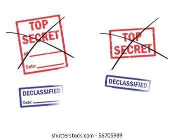 Strikeout stamps «Top secret» and «Declassified»