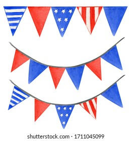 String garland of American flag set. Hand drawn watercolor illustration on white background. Isolated hanging party decoration for 4th of july patriotic design of navy blue, bright red color