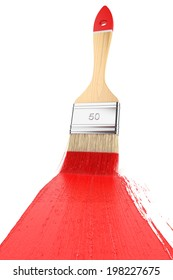 Strip paint brush painted on white background