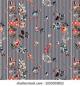 stripe all over print flower pattern