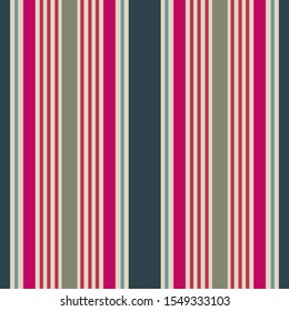Stripe seamless pattern with fuchsia, Navy, light blue and ecru colors vertical parallel stripes.