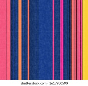Stripe seamless pattern with vertical parallel stripes on abstract brushed chambray fabric textured background. . stripe pattern abstract design for curtain, fabric, linens, wear, fashionable print