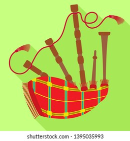 Striped bagpipes icon. Flat illustration of striped bagpipes icon for web design