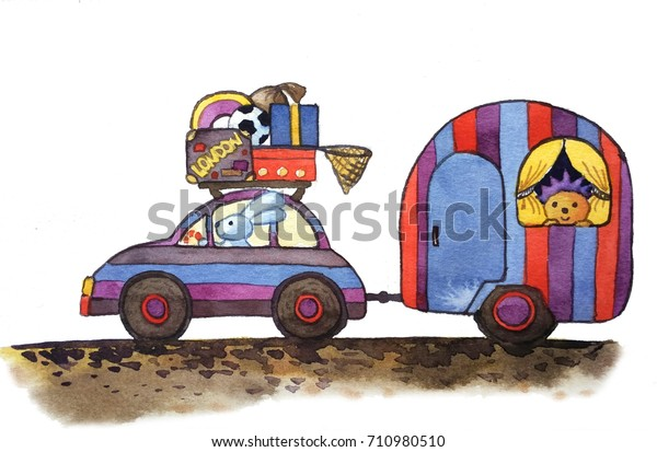 Striped Car Caravan Things On Roof Stock Illustration 710980510