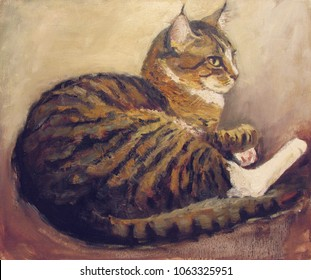 Striped cat, brown and black,  brown and beige artistic background/ Original artwork, oil  painting on canvas.