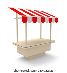 Striped empty market stall mockup template. 3d render illustration