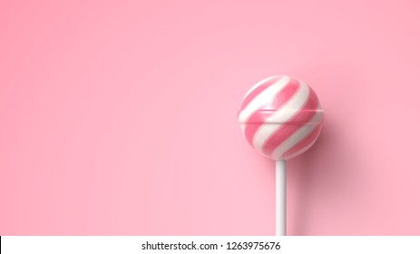Striped fruit pink and white lollipop on stick on bright pink background with copy space. 3d rendering.