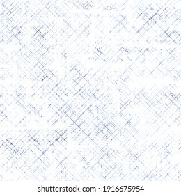 Striped grunge plaid halftone blue and white seamless pattern background. Abstract geometric diagonal overlapping stripes illustration texture. Print for textile, wallpaper, wrapping paper.