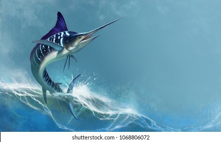 striped marlin on sea, fish sword. Realistic isolated illustration. Fish sailboat is a fast predator.