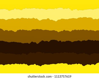 Striped paper collage in shades of yellow. This was made using scanned strips of torn paper. Ideal for use as a craft themed background.