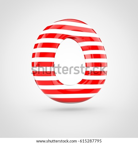 striped red and white glossy letter o uppercase 3d render of bubble twisted font with