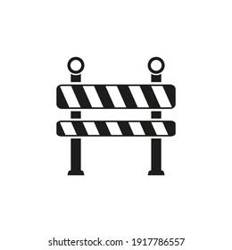 Striped roadblock icon. Construction, danger warning sign.