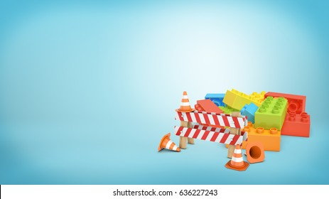 A striped roadblock sign beside several traffic cones standing in front of a colorful lego blocks pile. Building and construction. Work as game. Simple solutions.