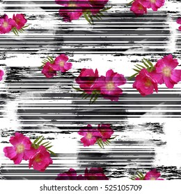Striped seamless pattern glitch design. Cyber floral background. Digital print. Textile print for bed linen, jacket, package design, fabric and fashion concepts