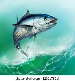 striped tuna, Skipjack Tuna, Katsuwonus pelamis. Tuna on the background of large waves