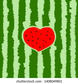 Striped watermelon texture, green striped berry peel with red carved heart. Watermelon Pattern. Hand-drawn illustration. Tropical fruits watermelons berry. Summer background. Watermelon illustration