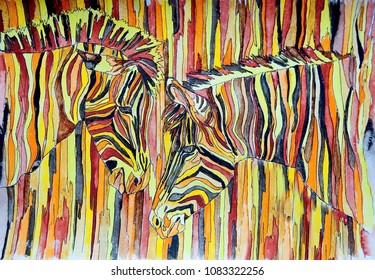 Striped zebras in savannah. Gouache on paper. Naive Art. Abstract art. Painting gouache, color pencil on paper. Children's creativity