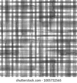 Stripes black and white grunge gingham tartan plaid abstract geometric seamless texture background. Watercolor hand drawn seamless pattern with black stripes. Wallpaper, wrapping, textile, fabric