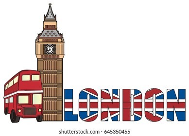 stripped inscription London with Big Ben tower and red bus