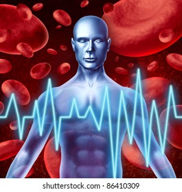 Stroke and heart attack warning signs medical symbol including loss of strength and numbness trouble speaking and vision problems caused by poor blood health and circulation.