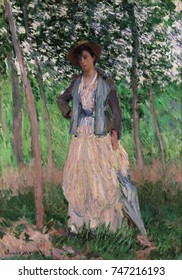 The Stroller by Claude Monet, 1887, French impressionist painting, oil on canvas. Suzanne was the daughter of Monets long time mistress, Alice Hoschede, whom he married in 1882 after her first husban