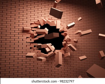 Strong blow on brick wall destroys it