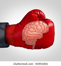Strong brain activity and training the mind and memory as a boxing glove with a patch as the human thinking organ stitched into the leather as a mental health symbol for education or brainstorm.