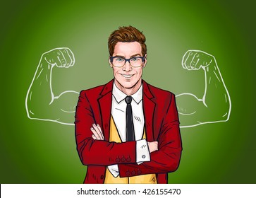 Strong Businessman in  glasses in comic style. Advertisement poster design of gym class or fitness lessons. Office worker with imaginary muscles
