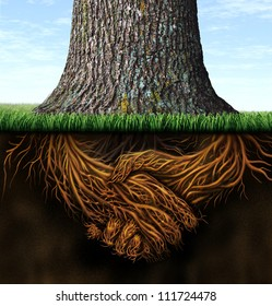 Strong deep business roots as a tree trunk with the root in the shape of a hand shake as a symbol of unity trust and integrity in finance and relationships.