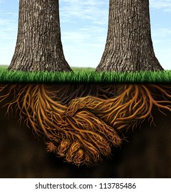 Strong foundation as a business concept of stability and loyalty with two trees with roots under ground in the shape of hands shaking as a symbol of agreement and merging forces together for success.