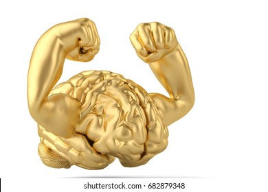 Strong gold brain and muscle brain 3D illustration